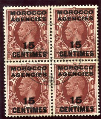 Morocco Agencies 1935 KGV 15c on 1½d red-brown block VFU. SG 218. Sc 428.