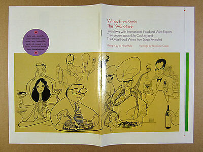 1995 Wines of Spain spanish wine guide brochure Al Hirschfeld portraits art
