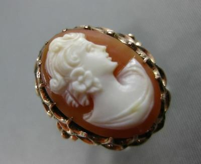 Antique Wide 14Kt Rose Gold Hand Carved Lady Cameo Flower Filigree Ring #204310