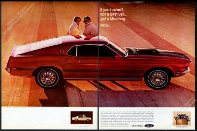 1969 Ford Mustang Mach 1 red 351 car photo vintage print ad