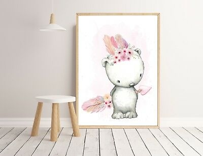 Baby, Girl Nursery Bedroom Wall Art decor prints Boho Woodland Animals floral