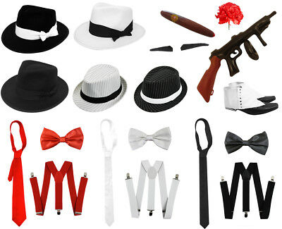 MENS 1920s FANCY DRESS COSTUME GANGSTER 20 HAT BRACES TIE CHOOSE ACCESSORIES LOT