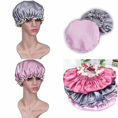 Women Elastic Waterproof Shower Cap Bathing Hair Hat Satin Cover Double Layers