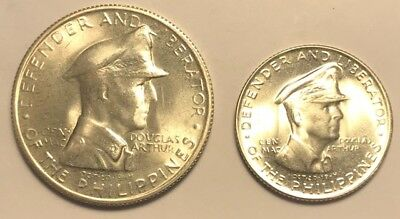 PHILIPPINES 1947-s 2pc General MacArthur  SILVER Coin SET BU++ 50cent/1-Peso