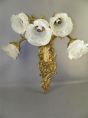 Antique French Bronze Rococo Baroque 5 Light  Sconce Satin Glass Flower Shades