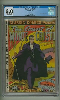 Classic Comics #3 HRN 20 (CGC 5.0) O/W pages; Count of Monte Cristo (c#18971)