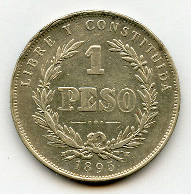 Uruguay 1895 Issue 1 Peso Scarce Silver Crown,mint Luster Xf.