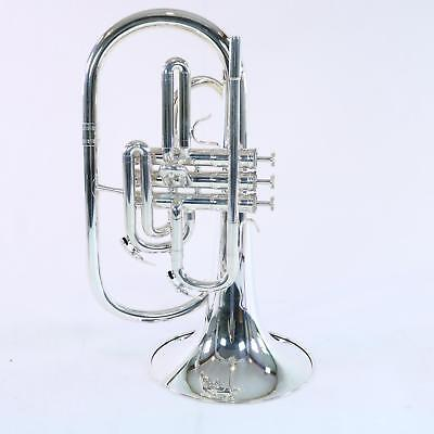 Nirschl E102SP Marching Mellophone SN E000691 SILVER PLATE DISPLAY MODEL