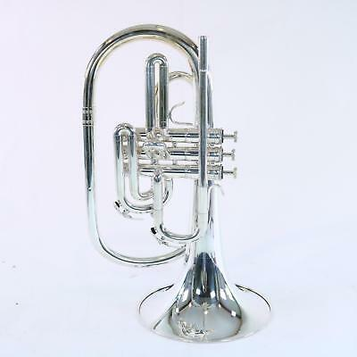 Nirschl E102 Marching Mellophone SN E000605 SILVER PLATE DISPLAY MODEL