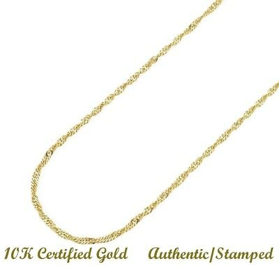 **SOLID** 10k Yellow Gold Singapore Chain Necklace 16 inch 1.5mm Men Women