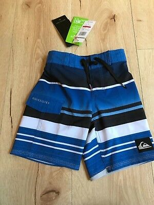 Quiksikver toddler boy blue striped board shorts, size 3- NEW