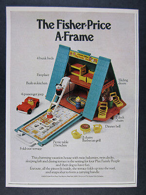 1974 Fisher-Price Little People A-Frame House Cabin vintage print Ad