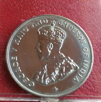 Straits Settlements 1920 Silver Dollar Coin  King George V Emperor Of India