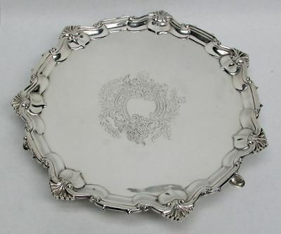 """1904 London Sterling Silver Scallop 11"""" Round Footed Tray"""