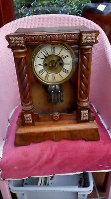 Antique Beautiful carved  wooden frame  MANTLE CLOCK with double pendulum