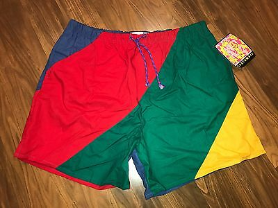 NEW Vtg 80s 90s Colorblock CASTAWAY Nautical Flag Shorts Mens XL swim trunks NWT