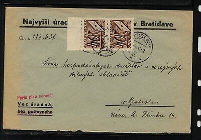 Slovakia   postage  due  stamps  on  cover       AT0518