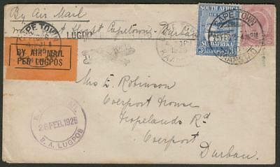 South Africa 1925 KGV Air 3d + 2d First Flight Cover Cape Town to Durban