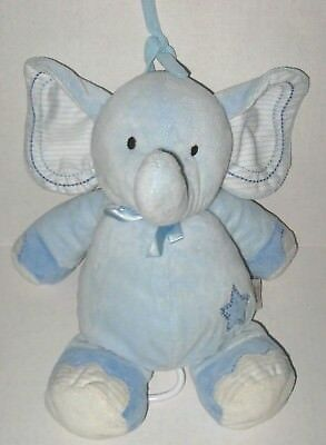 Carters Just One Year Musical Blue Elephant Star Stripes Plush Baby Crib Toy