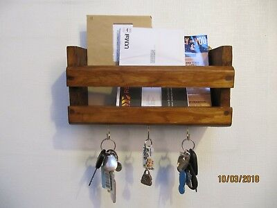 Rustic Wood ~  Wall Mounted Letter Rack, Mobile Phone/ Tablet and Key Tidy