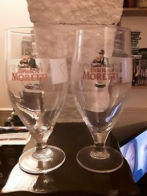 Pair Of Birra Moretti Pint Glasses Lager Beer Ale Amber Ale