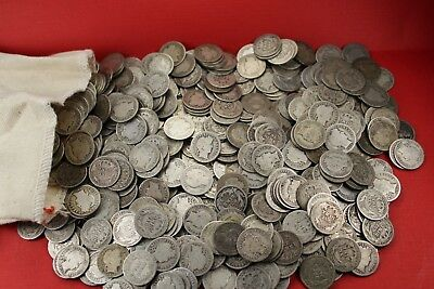 90% Silver Barber Dimes Fair to Avg Circ Lot of 12 Item #017