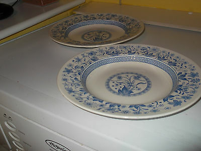 Two ?1891 Shallow Soup Bowls  With A Blue And White Lismore  Pattern