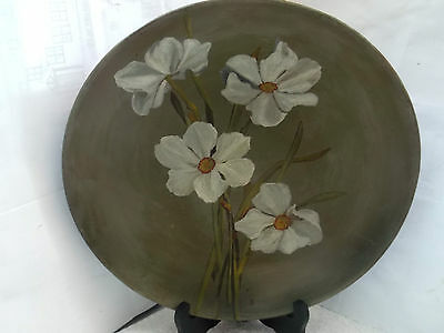 Vintage Mintons Pottery  Wall Hanging    Showing White Narcissi On Dark Green