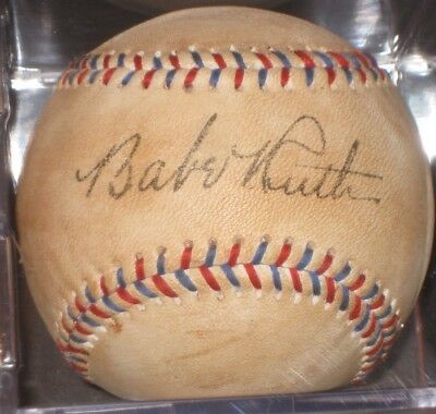 BABE RUTH Signed Baseball Red Blue Lace New York Yankees w/ Cube READ LISTING