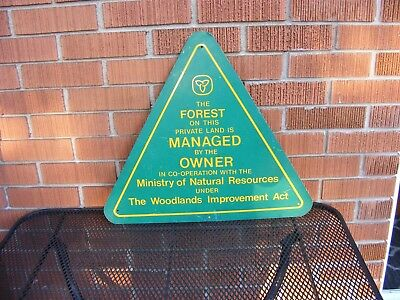 Rare Forestry Tin Sign Advertising Ministery Of Natural Resources Woodlands Act