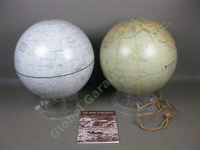 "12"" Replogle Desktop Globe Lot Time-Life Lighted NASA Lunar Moon + Booklet Stand"