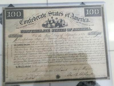 1861 $100 US Confederate STates of America Bond! JUMBO SIZED! Old US!