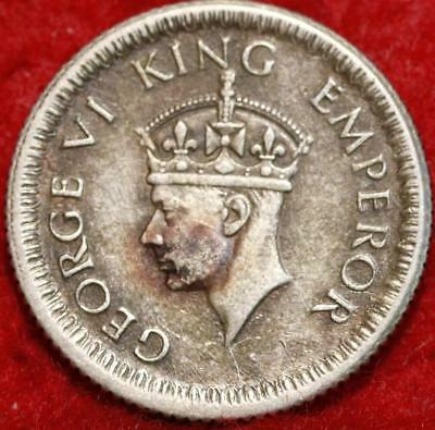 1942 India 1/4 Rupee Silver Foreign Coin
