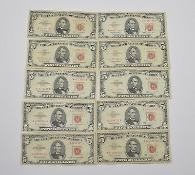 Lot of (10) $5.00 Red Seal Old US Notes Currency Collection 1963 *295