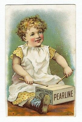 Victorian Child JAMES PYLE'S PEARLINE SOAP Victorian Trade Card BOX as Drum