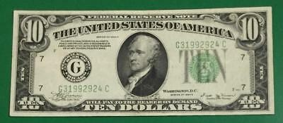 "1934B $10 Green Federal ""BIG G"" Chicago ""VINSON"" Choice VF! Old US Currency"
