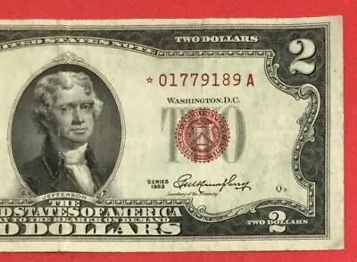 1953 $2 RED US Deuce *** STAR *** X189 Choice VF! Old US Paper Money currency