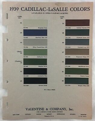 Orig 1939 Cadillac LaSalle Car Color Chart Chips Combinations Body Fender