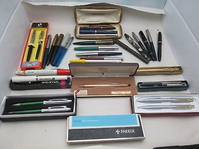 Vtg Fountain Pen & Pencil Parts Lot Cross, Sheaffer, Parker Eversharp, Conklin +
