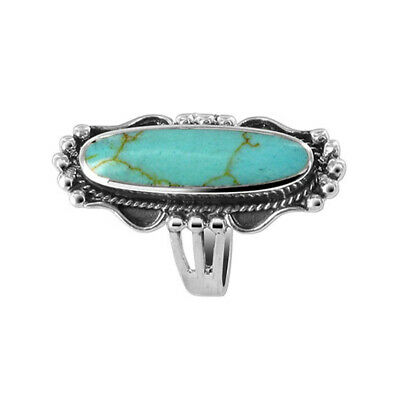 925 Sterling Silver Simulated Turquoise Ring Size 6 - 10