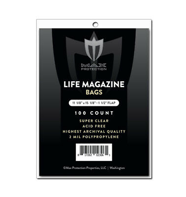 Max Pro Ultra Clear Life Magazine Bags - 11-1/8 x 14-1/4 - 100ct Pack
