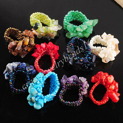 Natural Gemstone Chip Bead Stretch Finger Ring US6-10 Charm Jewelry 1PCS BJ301