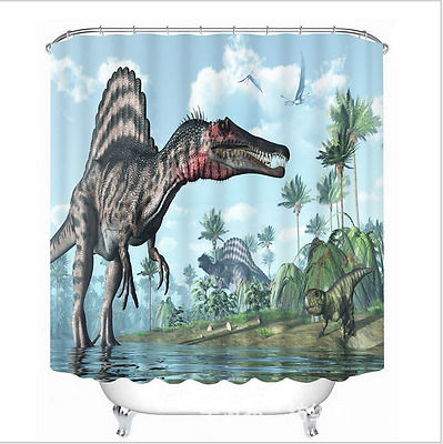Ancient Giant Dinosaur Bathroom Shower Curtain Waterproof Fabric & 12 Hooks 320