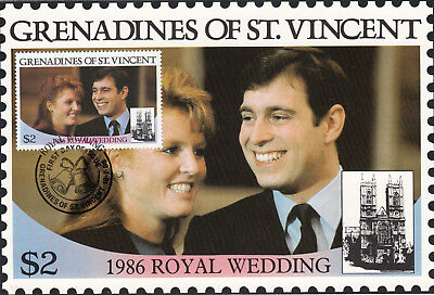 (13557) St Vincent Grenadines Maxicard Prince Andrew Fergie Royal Wedding 1986