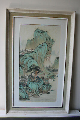 Chinese Landscape View Ink Watercolour Hand Painting Silk - Framed Glazed
