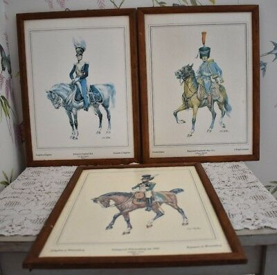 Set Of Three French English German Officer On Horseback Framed Pictures
