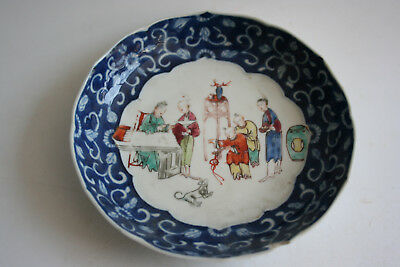 18th Century Antique Chinese Porcelain Blue White and Hand Painting Small Plate