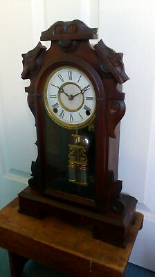 Ansonia Wall / Mantle 8 day striking Clock with double barrel pendulum