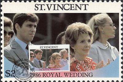 (13564) St Vincent Maxicard Postcard Prince Andrew Fergie Royal Wedding 1986