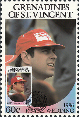 (13558) St Vincent Grenadines Maxicard Prince Andrew Fergie Royal Wedding 1986